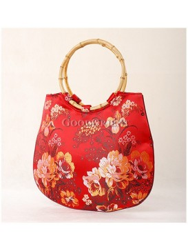 Floral Evening Bag with Round Bamboo Handle