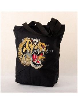 Embroidered Tiger Head Canvas Bag