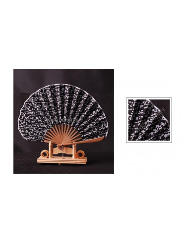 Japanese Style Cotton & Bamboo Fan---Black