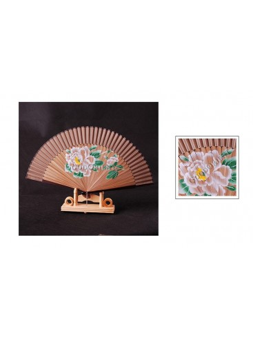 Ink Jetted White Peony Bamboo Fan