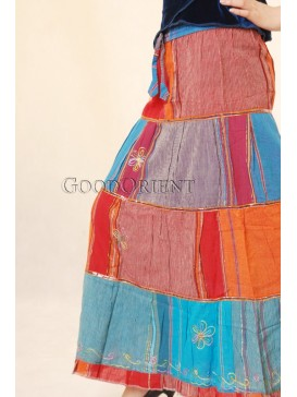 Red + Blue Beautiful Nepal Dancing Skirt