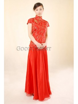 Chinese Red Peacock Feather Silk Brocade Blouse