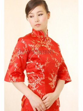 Chinese Red Plum blossom Silk Brocade Blouse