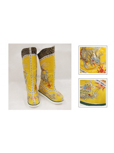 Bright Yellow Hand Embroidered Dragon Emperor Shoes