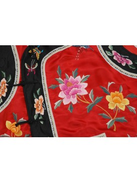 Red Hand Embroidered Peony Vest