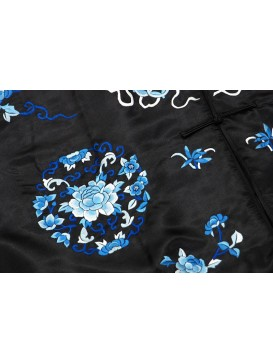 Mid-night Blue Peony Embroidered Long Jacket