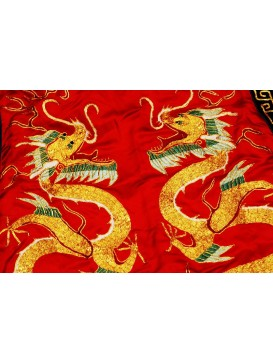 Golden Dragon Embroidered Red Long Vest