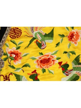 Royal Peony & Phoenix Embroidered Bright Yellow Long Jacket For Queen