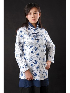 Blue-and-white China Linen Blouse