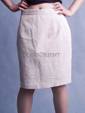 Formal Beige Velveteen Skirt