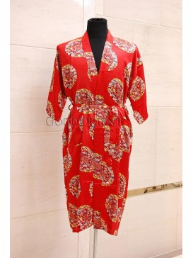 Big Spiral Lucky Dragon & Phoenix Rayon Robe---Red