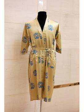 Small Spiral Lucky Dragon & Phoenix Rayon Robe---Yellow