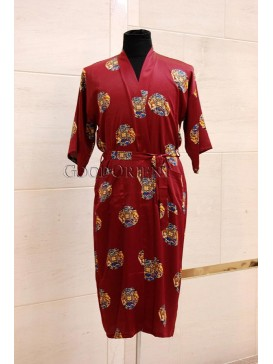 Small Spiral Lucky Dragon & Phoenix Rayon Robe---Dark Red