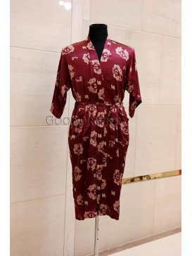Small Double Dragons Rayon Robe---Dark Red