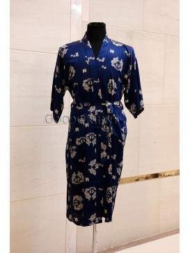 Small Double Dragons Rayon Robe---Navy