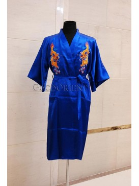 Embroidered Dragons Rayon Robe---Blue