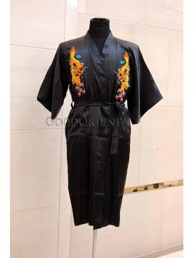 Embroidered Dragons Rayon Robe---Black