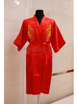 Embroidered Dragons Rayon Robe---Red