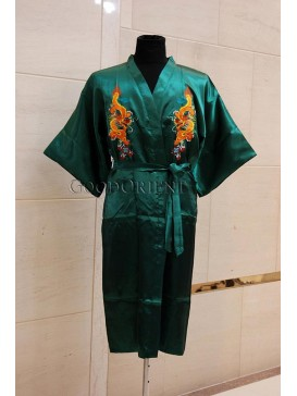 Embroidered Dragons Rayon Robe---Green