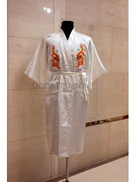 Embroidered Dragons Rayon Robe---White
