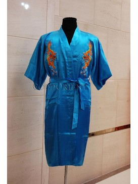 Embroidered Dragons Rayon Robe---Turquoise Blue
