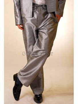 Shining Grey Thai Silk Pants