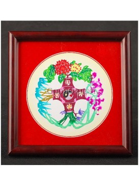 Plants of Four Seasons Handmade Papercut --- Purple Orchid, Green Bamboo, Colored Chrysanthemum, Fuchsia Plum Blossom