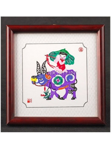A Happy Shepherd Boy Playing Bamboo Flute On The Cow's Back Handmade Papercut