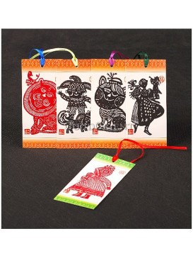 Chinese Folk Handmade Papercut Bookmark --- Featured People And Animals Series