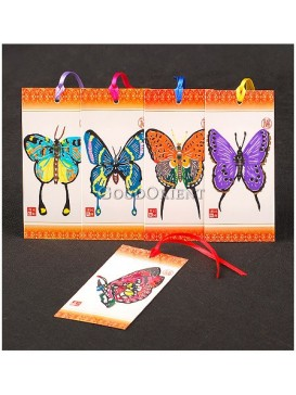 Chinese Folk Handmade Papercut Bookmark --- Colorful Butterfly Series