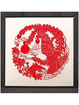 Red Phoenix Worshipping God Of Sun Handmade Papercut