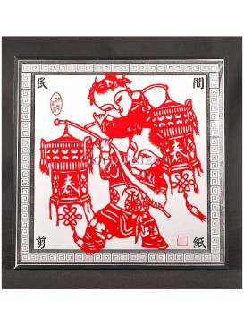 Two Happy Adorable Children Holding Chinese Red Lanterns Handmade Papercut