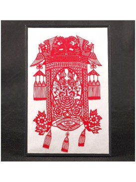 Noble Phoenix Chinese Red Lantern Handmade Papercut