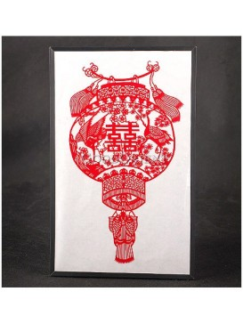 Chinese Happy Red Lantern Handmade Papercut