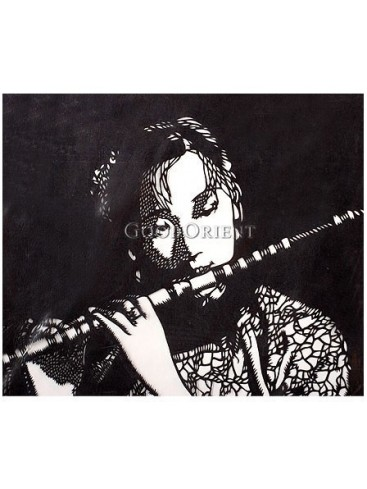 A Beautiful Girl Blowing The Bamboo Flute Handmade Papercut