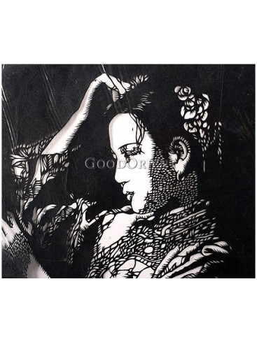 A Pretty Girl Looking In The Mirror Handmade Papercut