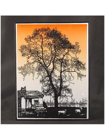 Spreading Shades Of Dusk In A Village Handmade Papercut