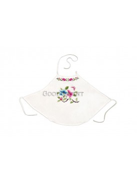 Lotus Flower and Butterfly Handmade Embroidered Dudou -- White