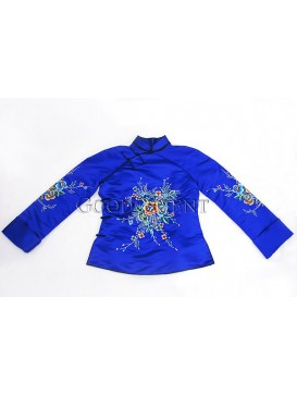 Royal Blue Handmade Embroidered Cotton-padded Coat