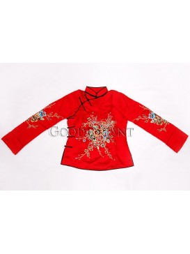 China Red Handmade Embroidered Cotton-padded Coat