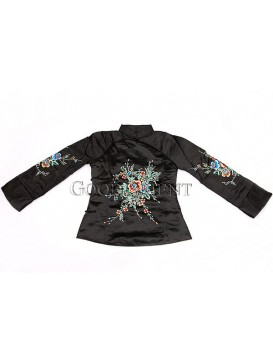 Black Handmade Embroidered Cotton-padded Coat