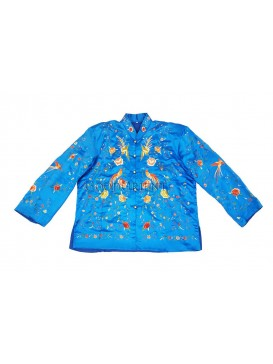 Colored Phoenix and Blooming Peony Handmade Embroidered Coat -- Blue