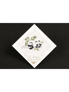Embroidered Cute Pandas and Green Bamboo Leaves Silk Hankerchief