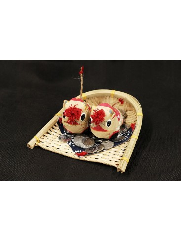 Handmade Clay Figurines --- Cute Lucky Cows In The Bamboo Dustpan