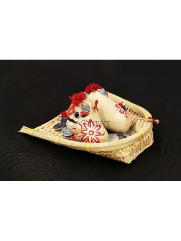 Handmade Clay Figurines --- Naughty Cows In The Bamboo Dustpan