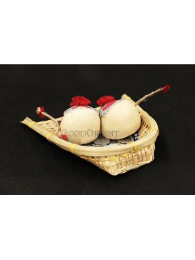 Handmade Clay Figurines --- Thoughtful Cows In The Bamboo Dustpan