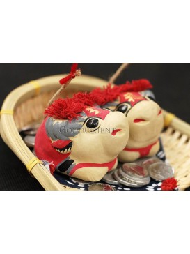 Handmade Clay Figurines --- Cute Smiling Cows In The Bamboo Dustpan