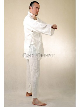 Cream Cotton Kungfu Shirt