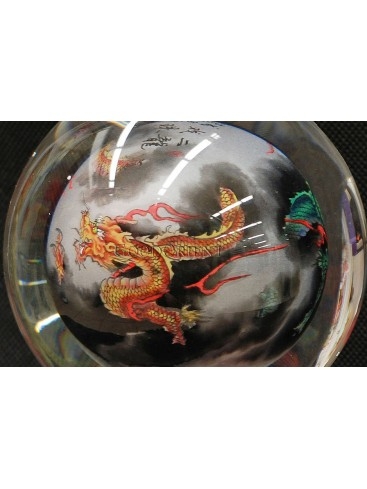 Inner Painting--Two Dragons Playing The ball Crystal Ball
