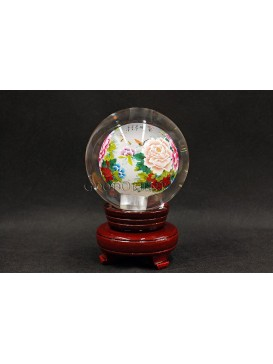 Inner Painting--Magnificent Blooming Peony Crystal Ball